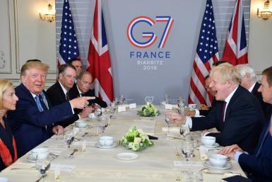 UK Prime Minister Boris Johnson and US President Donald Trump were on obviously friendly terms as they sat down for a working breakfast in the French resort of Biarritz where Group of Seven leaders are meeting this weekend