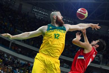 Forward Aron Baynes (L) is one of a number of NBA players on Australia's team for the Basketball World Cup.