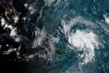This satellite image obtained from NOAA/RAMMB shows Hurricane Dorian as it passes Puerto Rico