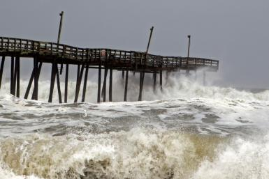 Waves crash on Rodanthe Pier as Hurricane Dorian hits Cape Hatteras in North Carolina on September 6