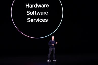 Apple CEO Tim Cook speaks on stage during a product launch event at Apple's headquarters in Cupertino, California