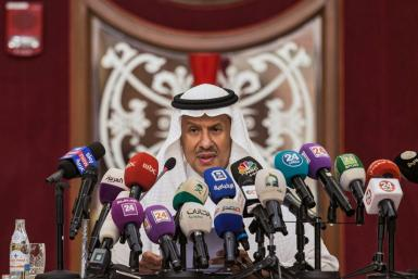 Saudi Arabia's Energy Minister Prince Abdulaziz bin Salman gives a press conference in the Red Sea city of Jeddah on September 17, 2019