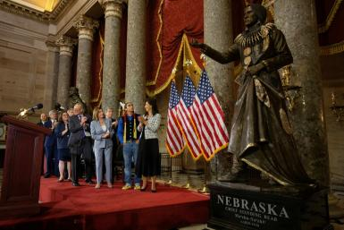 A statue of Ponca Chief Standing Bear, whose reversal of injustice in 1879 against Native Americans made him a national hero, was unveiled in the US Capitol's Statuary Hall by congressional and Nebraska dignitaries