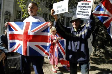Pro-Brexit demonstrators outside the Supreme Court in central London Tuesday