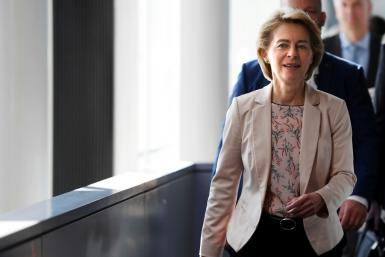 Von der Leyen met Thursday with the leaders of the European Parliament's political groups to defend her new team