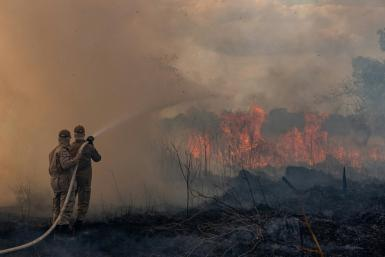 Firefighters in the Brazilian Amazon basin state of Mato Grosso battle a forest blaze in the municipality of Sorriso