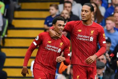 Liverpool's Trent Alexander-Arnold (L) opened the scoring with a rocket at Chelsea