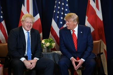 US President Donald Trump and British Prime Minister Boris Johnson, meeting on the sidelines of the United Nations General Assembly