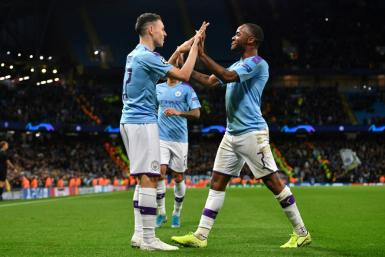 Phil Foden (L) and Raheem Sterling (R) scored Manchester City's goals as they beat Dinamo Zagreb 2-0