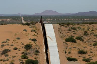 A portion of the wall on the US-Mexico border seen from Chihuahua, Mexico