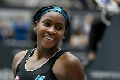 Coco Gauff celebrates victory over Jelena Ostapenko in the Linz final