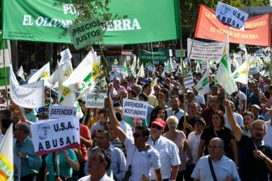 Thousands of olive growers, many waving olive branches, protested in Madrid on Thursday against the impending tariffs