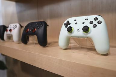 The new Google Stadia gaming system controller is displayed during a launch event for the gaming service set to debut November 19