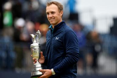 Jordan Spieth celebrates winning the 2017 Open Championship at Birkdale. The former world number one has not won a tournament since