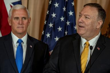 US Secretary of State Mike Pompeo (R) and US Vice President Mike Pence (L), pictured on September 20, 2019, were scheduled to hold talks with Turkish President Recep Tayyip Erdogan, but Erdogan has said he will not meet them