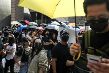 Thousands joined the unsanctioned rally in Hong Kong regardless
