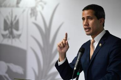 Venezuelan opposition leader Juan Guaido (pictured October 17, 2019) met with various Chinese delegations in Caracas, according to his diplomatic envoy to Brazil