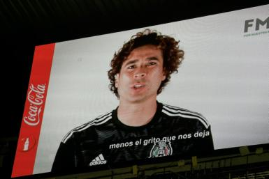 Mexican goalkeeper Guillermo Ochoa speaks out against homophobic chants in a message screened at the Azteca Stadium in Mexico City on October 15, 2019