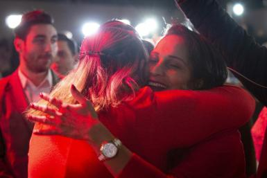 Supporters of Liberal party candidate, Justin Trudeau, react to the announcements of the first election results