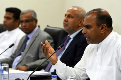 Sri Lanka Parliamentary Select Committee Chairman Ananda Kumarasiri at a press conference to release the findings of a report into the Easter Sunday suicide attacks