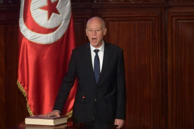 "Tunisia's new President Kais Saied, an academic nicknamed ""Robocop"" for his rigid and austere manner, takes the oath of office after his upstart election victory earlier this month"