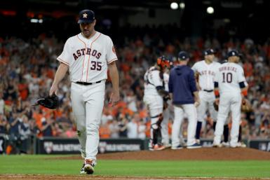 Houston pitcher Justin Verlander is taken out of the game in the seventh inning as the Astros fall to the Washington Nationals in game two of the World Series