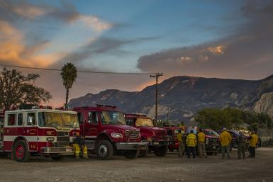 Firefighters battling the Maria Fire near Los Angeles, California