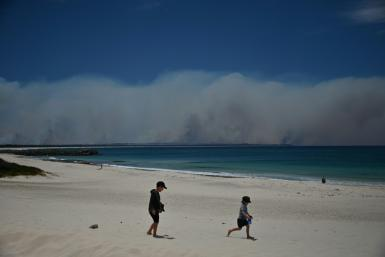 Bushfires burn in the distance as children play on a beach in Forster, north of Sydney
