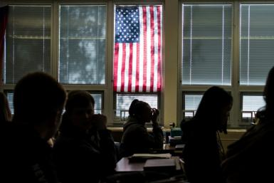 Students sit in class at Sidney High School