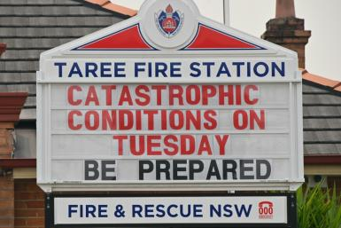 "The town of Taree, 350 kilometres north of Sydney, was readying for ""catastrophic"" fire conditions"