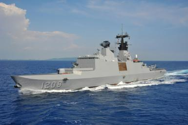 A Lafayette-class frigate of the Taiwan navy taking part in an exercise off the southern naval base of Tsoying in 2014