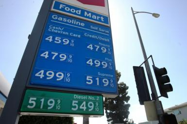 Gasoline prices on display in Los Angeles in October
