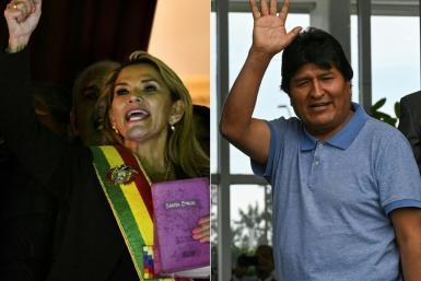 Interim Bolivia President Jeanine Anez (left) acknowledges her supporters after her appointment as ousted former leader Evo Morales waves upon his arrival in Mexico where he has been granted asylum