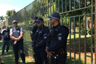 Militarized police outside the Venezuelan embassy in Brasilia, Brazil as supporters of President Nicolas Maduro and opposition leader Juan Guaido vie for control of the diplomatic compound