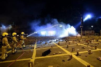 Barricades burned in the main road next to Hong Kong Polytechnic University on Saturday night