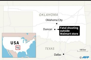 Map locating Duncan in the US state of Oklahoma where a fatal shooting occurred outside a Walmart store Monday.