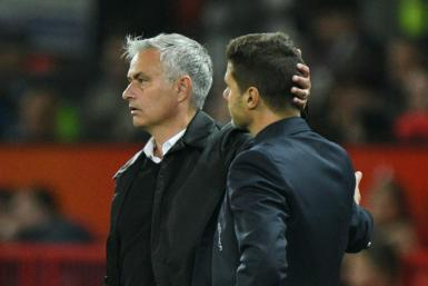 Jose Mourinho (left) and Mauricio Pochettino, the man he is tipped to replace at Tottenham