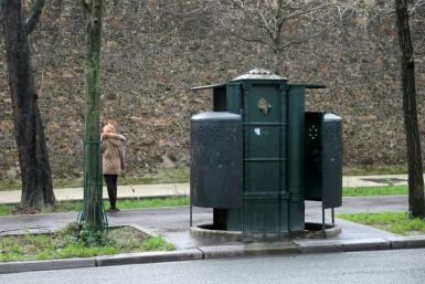 "The one-man originals had a rather phallic pepperpot design. This picture shows Paris's last remaining ""pissotiere"""