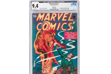 "This image courtesy of Heritage Auctions shows a copy of Marvel Comics number one, the 1939 comic book considered the ""Big Bang"" of the Marvel Comics Superhero Universe"