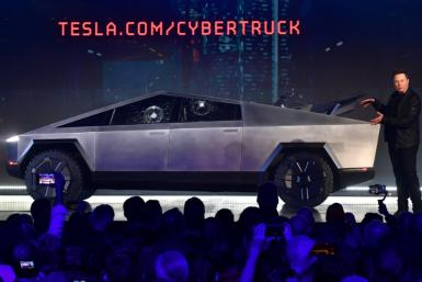 Tesla co-founder and CEO Elon Musk presentING the all-electric battery-powered Tesla Cybertruck at Tesla Design Center in Hawthorne, California