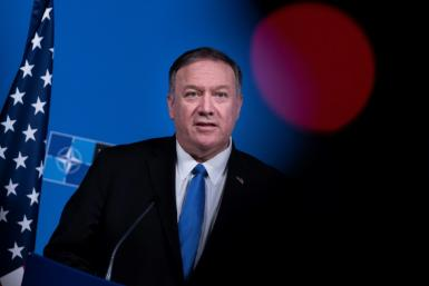 "US Secretary of State Mike Pompeo, seen here in November 2019, has defended ""restraint"" on Venezuela"
