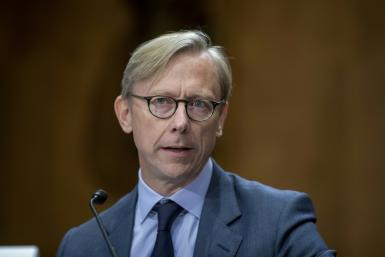 Brian Hook, the US pointman on Iran, testifies before a Senate hearing in October 2019