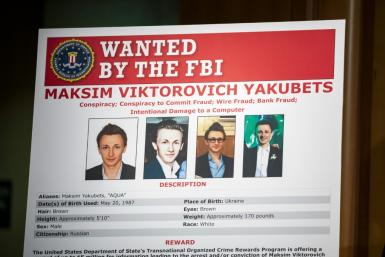 The FBI wanted poster of Maksim Viktorovich Yakubets, a Russian hacker known as 'aqua' indicted Thursday for a decade-long cybertheft spree