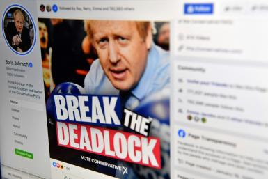 A photo illustration shows the Facebook page of Britain's Conservative Party leader and Prime Minister Boris Johnson.