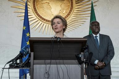 European Commission president Ursula von der Leyen in Ethiopia's capital Addis Ababa, her first trip outside Europe since being appointed