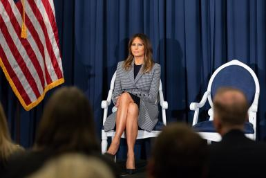 First Lady Melania Trump at the Thomas Jefferson University Hospital Pavilion Building