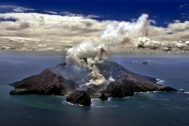 A file picture of New Zealand's most active volcano, Whakarri (White Island), in the Bay of Plenty, taken in 1999