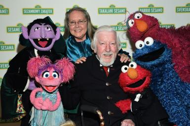 """Caroll Spinney -- seen here at the 2017 Sesame Workshop Dinner in New York with several other """"Sesame Street"""" characters -- portrayed Big Bird and Oscar the Grouch for nearly 50 years"""