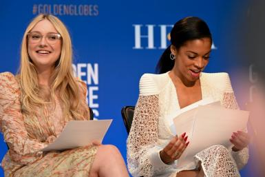 Actress Dakota Fanning (L) and Susan Kelechi Watson attend the 77th Annual Golden Globe Awards nominations announcement at the Beverly Hilton hotel in Beverly Hills on December 9, 2019