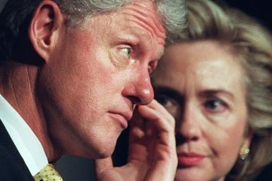Former US president Bill Clinton and first lady Hillary Clinton in January 1999, when he was on trial in the Senate for lying to investigators in the Lewinsky sex scandal